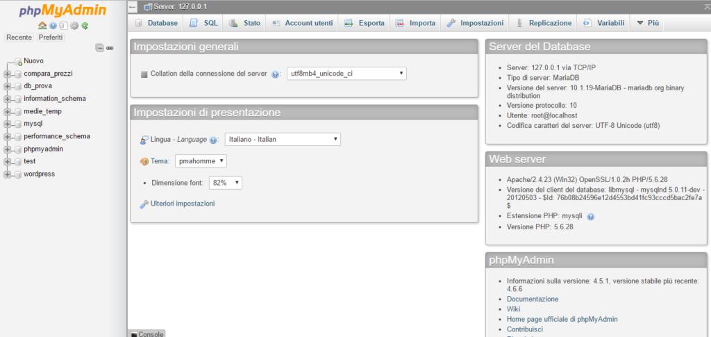 schermata principale phpMyAdmin