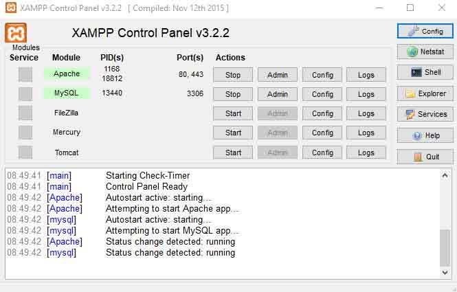 pannello di controllo XAMPP