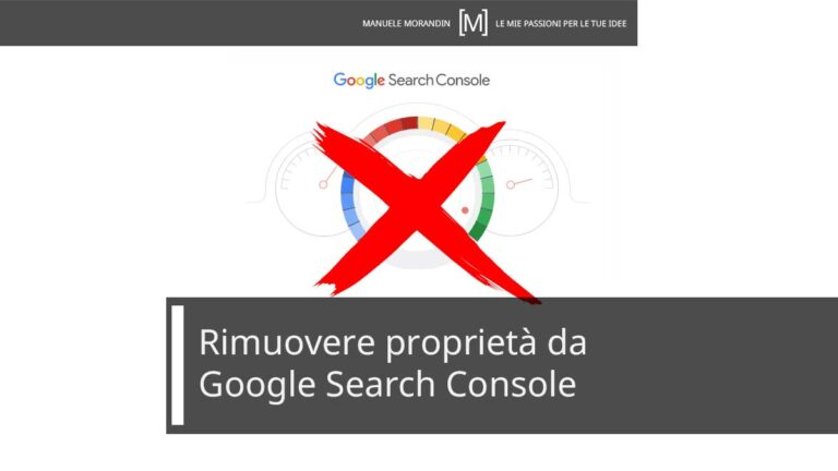Rimuovere proprietà da Google Search console