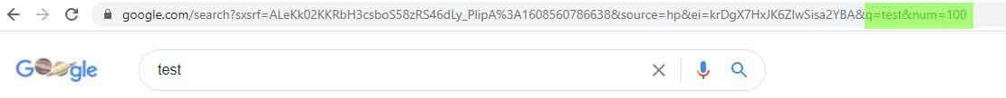 SERP con 100 URL